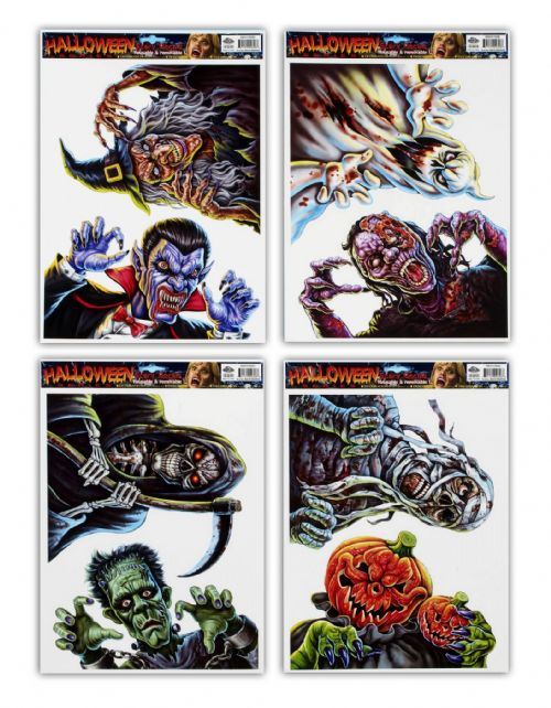 1 Scary Halloween Window Stickers for Zombie Witch Devil Halloween Party Decorations